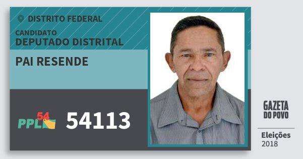 Santinho Pai Resende 54113 (PPL) Deputado Distrital | Distrito Federal | Eleições 2018