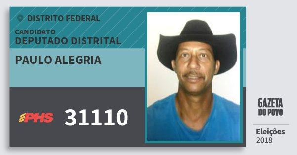 Santinho Paulo Alegria 31110 (PHS) Deputado Distrital | Distrito Federal | Eleições 2018