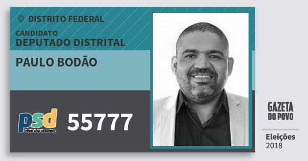 Santinho Paulo Bodão 55777 (PSD) Deputado Distrital | Distrito Federal | Eleições 2018