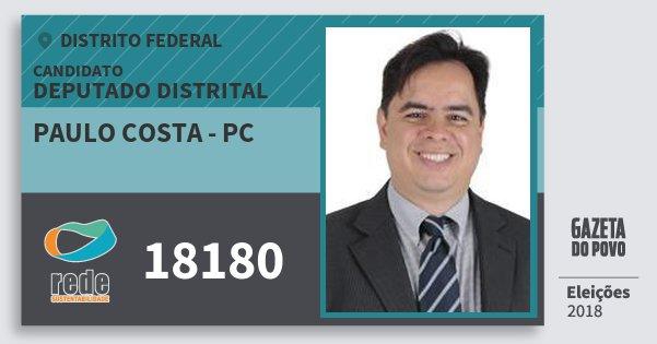 Santinho Paulo Costa - Pc 18180 (REDE) Deputado Distrital | Distrito Federal | Eleições 2018
