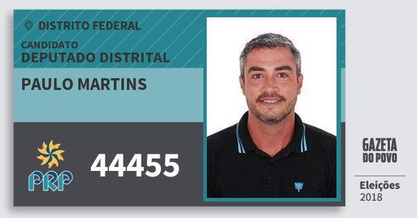Santinho Paulo Martins 44455 (PRP) Deputado Distrital | Distrito Federal | Eleições 2018