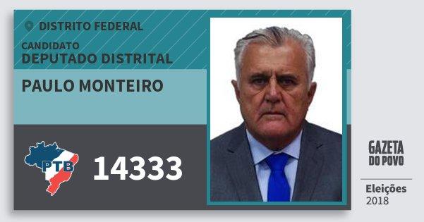 Santinho Paulo Monteiro 14333 (PTB) Deputado Distrital | Distrito Federal | Eleições 2018