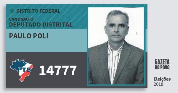 Santinho Paulo Poli 14777 (PTB) Deputado Distrital | Distrito Federal | Eleições 2018