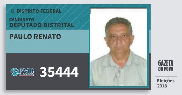 Santinho Paulo Renato 35444 (PMB) Deputado Distrital | Distrito Federal | Eleições 2018
