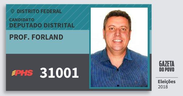 Santinho Prof. Forland 31001 (PHS) Deputado Distrital | Distrito Federal | Eleições 2018