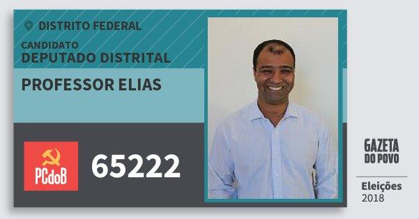Santinho Professor Elias 65222 (PC do B) Deputado Distrital | Distrito Federal | Eleições 2018