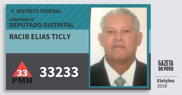 Santinho Racib Elias Ticly 33233 (PMN) Deputado Distrital | Distrito Federal | Eleições 2018