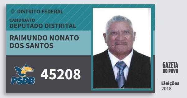 Santinho Raimundo Nonato dos Santos 45208 (PSDB) Deputado Distrital | Distrito Federal | Eleições 2018