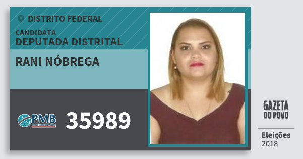 Santinho Rani Nóbrega 35989 (PMB) Deputada Distrital | Distrito Federal | Eleições 2018