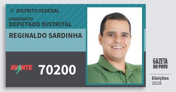Santinho Reginaldo Sardinha 70200 (AVANTE) Deputado Distrital | Distrito Federal | Eleições 2018
