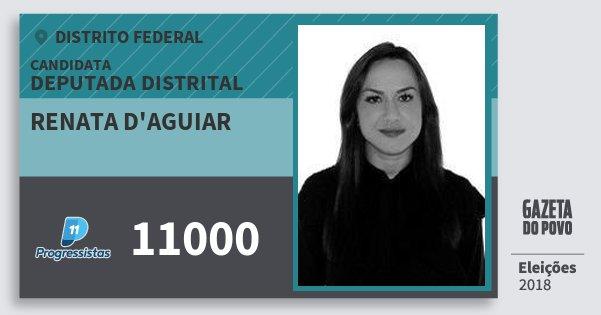 Santinho Renata d'Aguiar 11000 (PP) Deputada Distrital | Distrito Federal | Eleições 2018