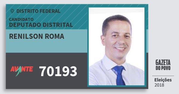 Santinho Renilson Roma 70193 (AVANTE) Deputado Distrital | Distrito Federal | Eleições 2018