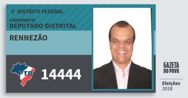 Santinho Rennezão 14444 (PTB) Deputado Distrital | Distrito Federal | Eleições 2018
