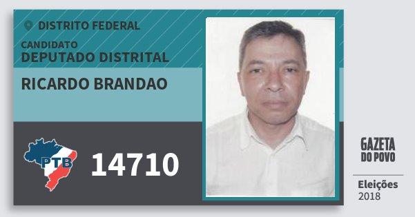 Santinho Ricardo Brandao 14710 (PTB) Deputado Distrital | Distrito Federal | Eleições 2018