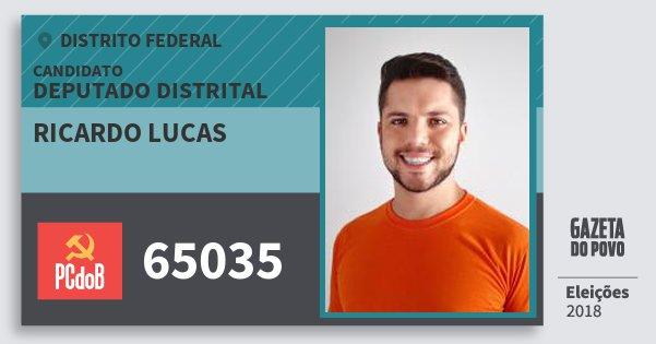Santinho Ricardo Lucas 65035 (PC do B) Deputado Distrital | Distrito Federal | Eleições 2018
