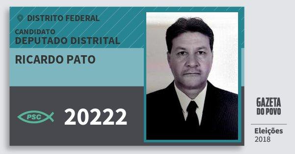 Santinho Ricardo Pato 20222 (PSC) Deputado Distrital | Distrito Federal | Eleições 2018