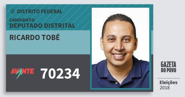 Santinho Ricardo Tobé 70234 (AVANTE) Deputado Distrital | Distrito Federal | Eleições 2018