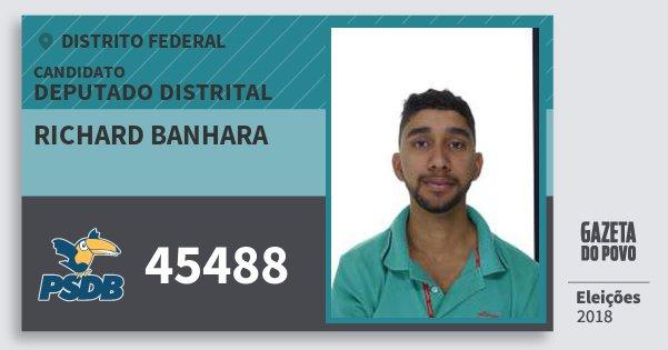 Santinho Richard Banhara 45488 (PSDB) Deputado Distrital | Distrito Federal | Eleições 2018