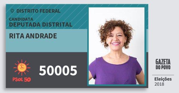 Santinho Rita Andrade 50005 (PSOL) Deputada Distrital   Distrito Federal   Eleições 2018
