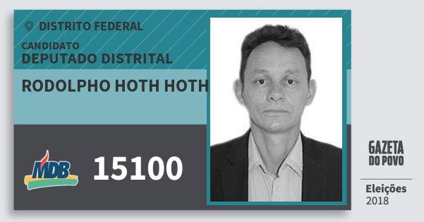 Santinho Rodolpho Hoth Hoth 15100 (MDB) Deputado Distrital | Distrito Federal | Eleições 2018