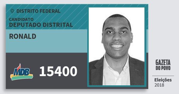 Santinho Ronald 15400 (MDB) Deputado Distrital | Distrito Federal | Eleições 2018