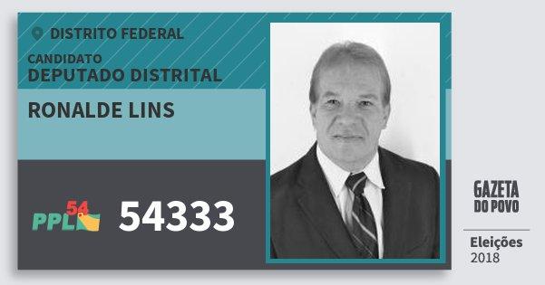 Santinho Ronalde Lins 54333 (PPL) Deputado Distrital | Distrito Federal | Eleições 2018