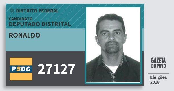 Santinho Ronaldo 27127 (DC) Deputado Distrital | Distrito Federal | Eleições 2018