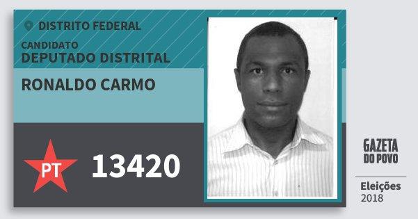 Santinho Ronaldo Carmo 13420 (PT) Deputado Distrital | Distrito Federal | Eleições 2018