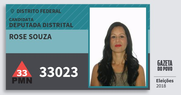 Santinho Rose Souza 33023 (PMN) Deputada Distrital | Distrito Federal | Eleições 2018