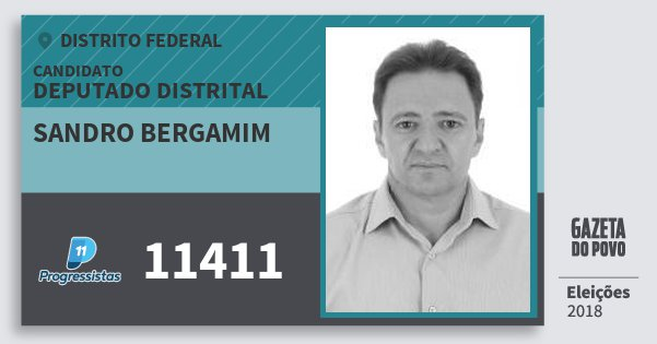 Santinho Sandro Bergamim 11411 (PP) Deputado Distrital | Distrito Federal | Eleições 2018