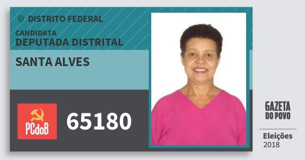 Santinho Santa Alves 65180 (PC do B) Deputada Distrital | Distrito Federal | Eleições 2018