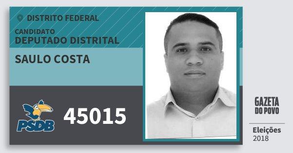 Santinho Saulo Costa 45015 (PSDB) Deputado Distrital | Distrito Federal | Eleições 2018