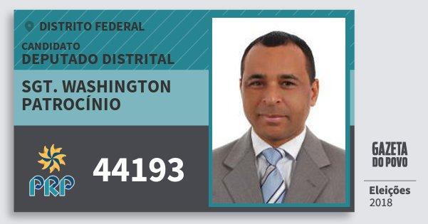 Santinho Sgt. Washington Patrocínio 44193 (PRP) Deputado Distrital | Distrito Federal | Eleições 2018