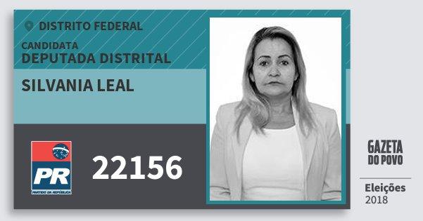 Santinho Silvania Leal 22156 (PR) Deputada Distrital | Distrito Federal | Eleições 2018
