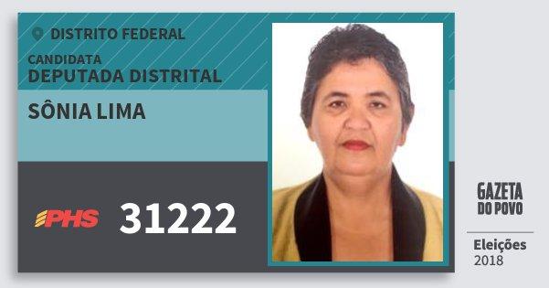 Santinho Sônia Lima 31222 (PHS) Deputada Distrital | Distrito Federal | Eleições 2018