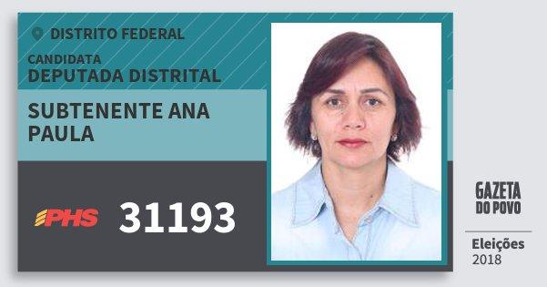 Santinho Subtenente Ana Paula 31193 (PHS) Deputada Distrital | Distrito Federal | Eleições 2018