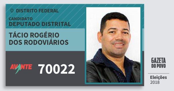 Santinho Tácio Rogério dos Rodoviários 70022 (AVANTE) Deputado Distrital | Distrito Federal | Eleições 2018