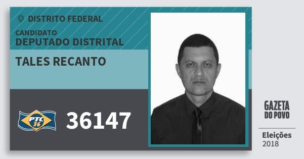 Santinho Tales Recanto 36147 (PTC) Deputado Distrital | Distrito Federal | Eleições 2018