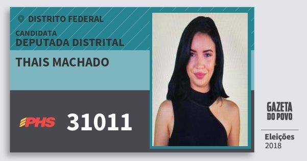 Santinho Thais Machado 31011 (PHS) Deputada Distrital | Distrito Federal | Eleições 2018