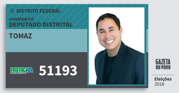 Santinho Tomaz 51193 (PATRI) Deputado Distrital | Distrito Federal | Eleições 2018