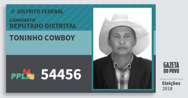 Santinho Toninho Cowboy 54456 (PPL) Deputado Distrital | Distrito Federal | Eleições 2018