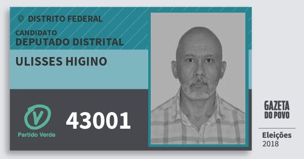 Santinho Ulisses Higino 43001 (PV) Deputado Distrital | Distrito Federal | Eleições 2018