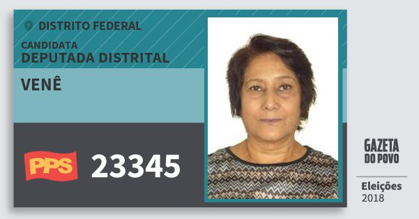 Santinho Venê 23345 (PPS) Deputada Distrital | Distrito Federal | Eleições 2018