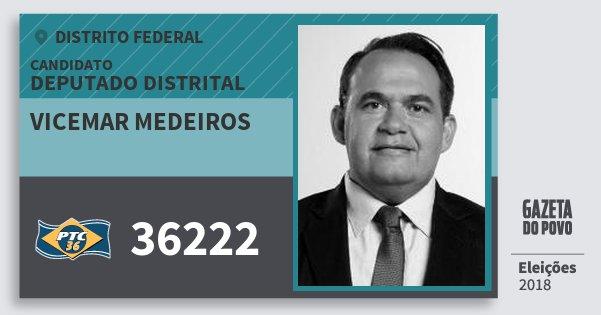Santinho Vicemar Medeiros 36222 (PTC) Deputado Distrital | Distrito Federal | Eleições 2018