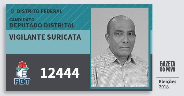 Santinho Vigilante Suricata 12444 (PDT) Deputado Distrital | Distrito Federal | Eleições 2018