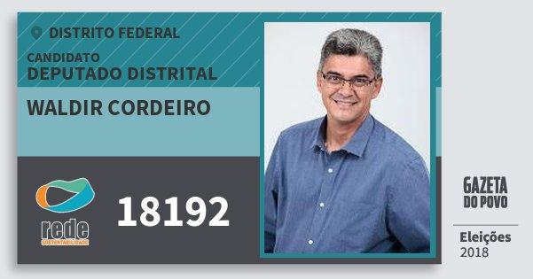 Santinho Waldir Cordeiro 18192 (REDE) Deputado Distrital | Distrito Federal | Eleições 2018