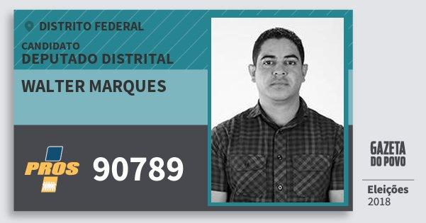 Santinho Walter Marques 90789 (PROS) Deputado Distrital | Distrito Federal | Eleições 2018