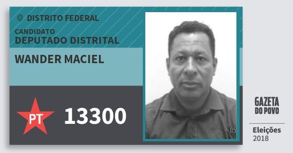Santinho Wander Maciel 13300 (PT) Deputado Distrital | Distrito Federal | Eleições 2018