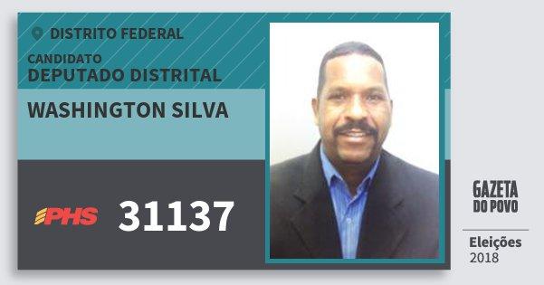 Santinho Washington Silva 31137 (PHS) Deputado Distrital | Distrito Federal | Eleições 2018