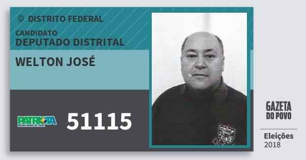Santinho Welton José 51115 (PATRI) Deputado Distrital | Distrito Federal | Eleições 2018